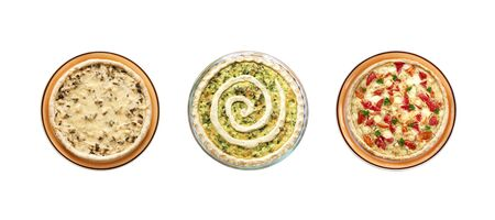 Collage of vegetable tarts isolated on white background. Flat lay, top view