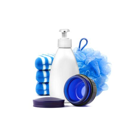 Composition with containers and objects for bath and skincare isolated on white background. Body care and beauty concept. Color of the year 2020 Stock Photo