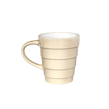 Beige mug isolated on white background with clipping path. Front view Stockfoto