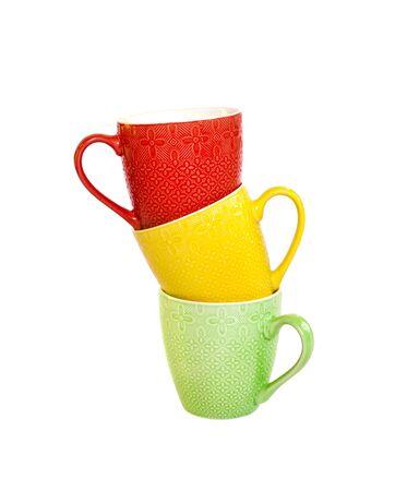 Colorful mugs isolated on white background Stockfoto
