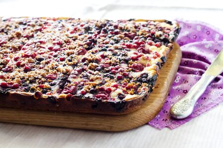 Delicious pie with berry assortment and cottage cheese cut on square slices on a wooden board