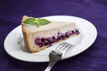 Slice of coffee cake with blueberries on a white plate