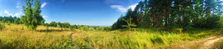 Beautiful panorama of meadow and edge of forest near Kaniv Reservoir shore, Ukraine
