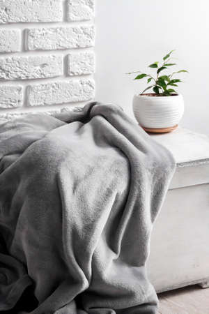 White wooden box with gray soft fleece blanket and young Ficus plant in white flower pot on it. White wall with bricks on background. 版權商用圖片