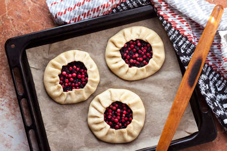 Home cooking. Sweet pies with elderberries and cowberries on baking tray ready for baking. Flat lay, top view
