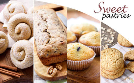 Collage of homemade sweet pastry in rustic style