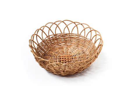 Empty round whicker basket isolated on white background, top view