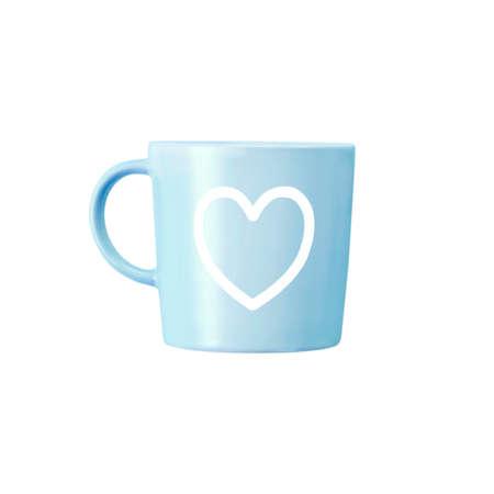 mug  heart print  it isolated  white background   . 版權商用圖片