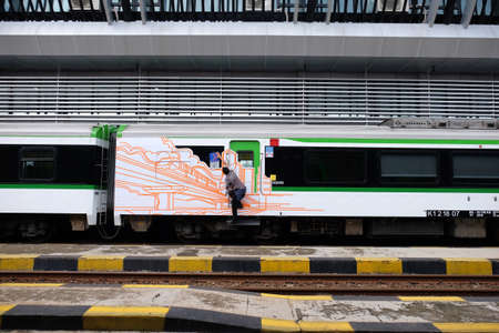 Solo Balapan Train Station, Solo, Central Java / Indonesia - December 29 2019 : The new Airport Train Editorial