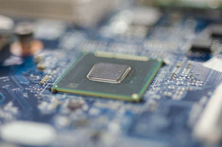 microprocessors: Printed Circuit Board With Chip CPU Processor