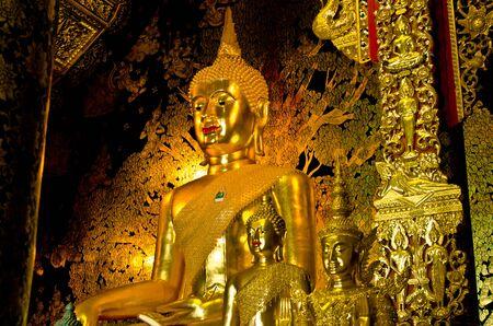temple thailand: Golden buddha statue in buddhism temple thailand