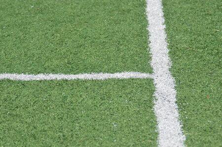 football match lawns: The line on green grass field Stock Photo
