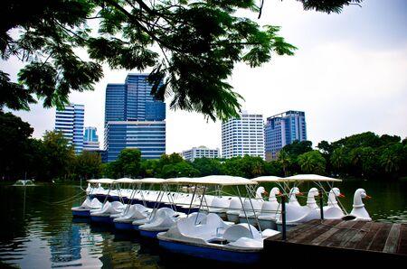 lumpini: Lumpini park and Duck shaped boat Bangkok Thailand Stock Photo