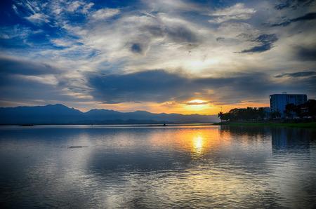 Sunset in Kwan phayao Thailand;