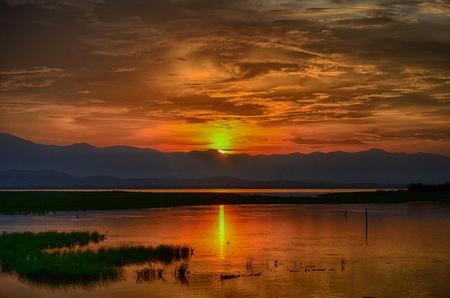 Sunset in Kwan phayao Thailand Stock Photo