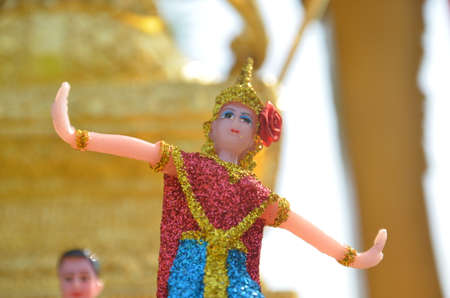 Thai doll in spirit house Stock Photo