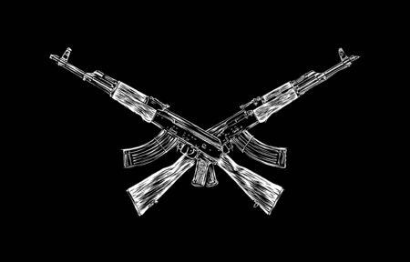 gunfire: Engrave isolated Kalashnikov illustration sketch. Linear art
