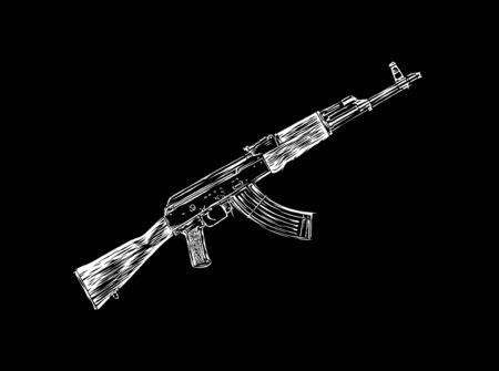 kalashnikov: Engrave isolated Kalashnikov illustration sketch. Linear art
