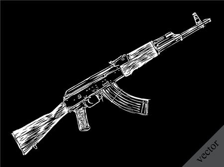 kalashnikov: Engrave isolated vector Kalashnikov illustration sketch. Linear art Illustration