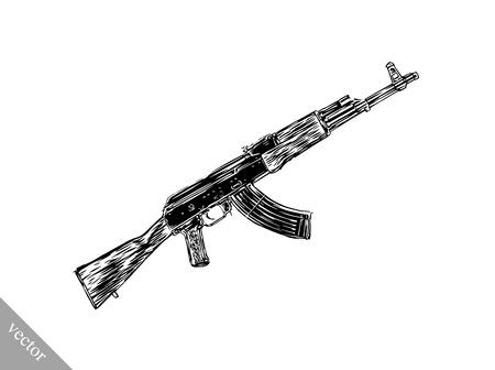 gunfire: Engrave isolated vector Kalashnikov illustration sketch. Linear art Illustration