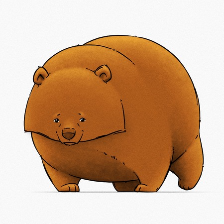 tundra: funny cartoon cute brown grizzly bear illustration Stock Photo