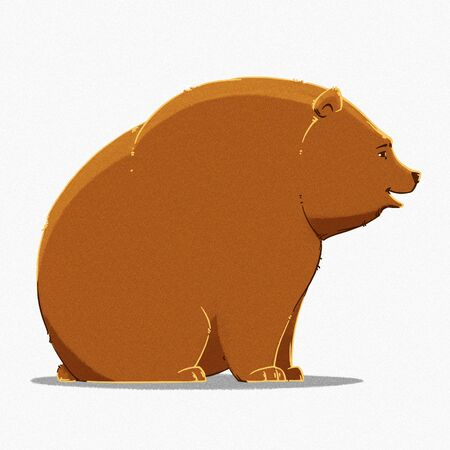 cute bear: funny cartoon cute brown grizzly bear illustration Stock Photo