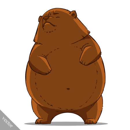 cartoon bear: funny cartoon cute vector brown grizzly bear illustration