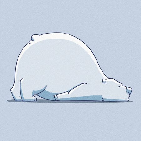tundra: funny cartoon cute white polar bear illustration Stock Photo