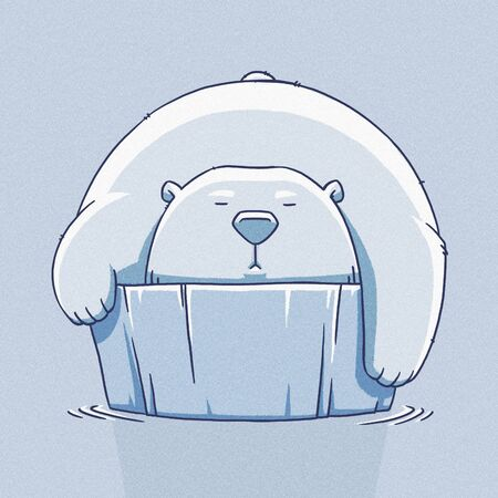 tundra: funny cartoon cute white polar bear illustration Stock Photo