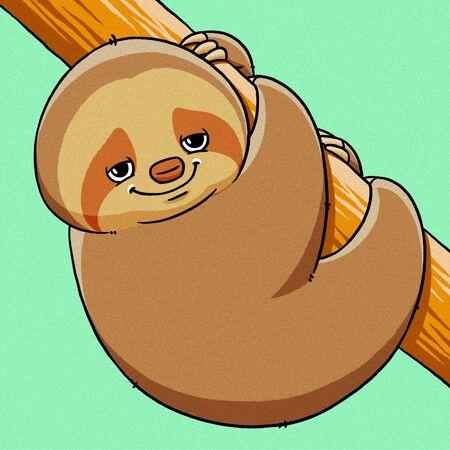 sloth: divertidos dibujos animados de grasa fresca linda ilustración pereza