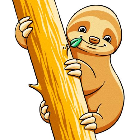 sloth: funny cartoon cute cool fat sloth illustration