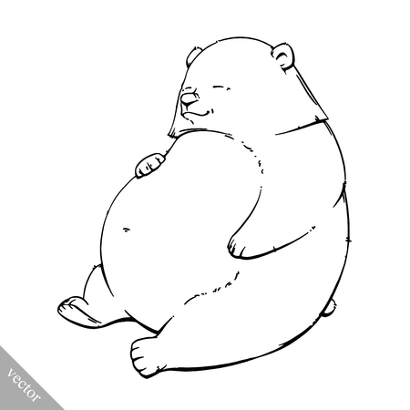 Dibujo Animado Divertido Lindo Marrón Ilustración Vectorial Oso ...