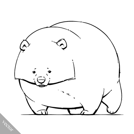 tundra: funny cartoon cute vector brown grizzly bear illustration