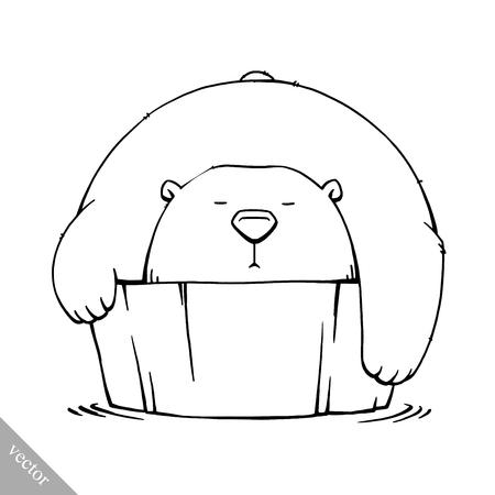 tundra: funny cartoon cute white polar vector bear illustration Illustration