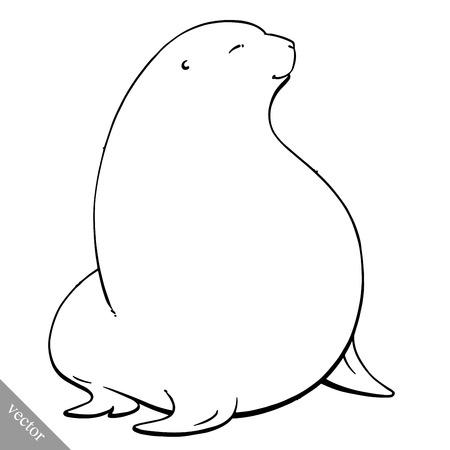 navy seal: funny cartoon cute cool fat Navy seal vector illustration
