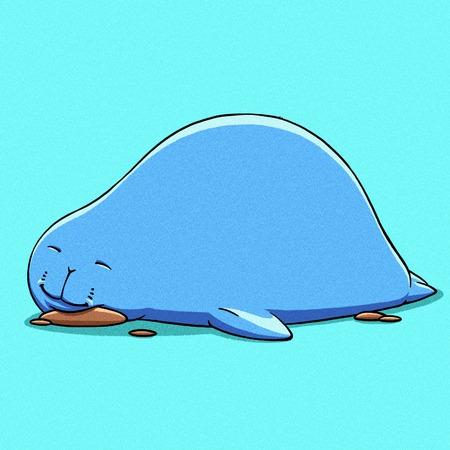 navy seal: funny cartoon cute cool fat Navy seal illustration Stock Photo