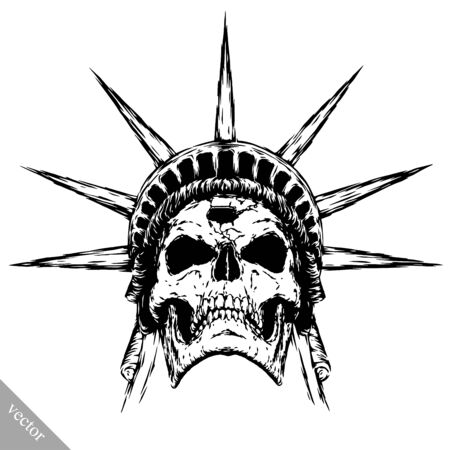 sombre: black and white engrave isolated evil skull face Illustration