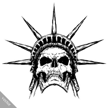 black and white engrave isolated evil skull face Vettoriali