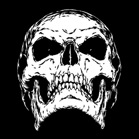 sombre: black and white engrave isolated evil skull face Stock Photo