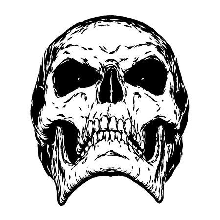 black and white engrave isolated evil skull face Stock Photo
