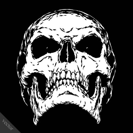 black and white engrave isolated evil skull face Stock Vector - 57161903