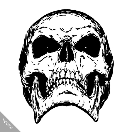 black and white engrave isolated evil skull face Stock Vector - 57161907