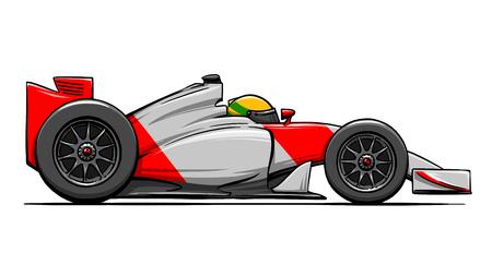 childs: childs funny cartoon formula race car illustration