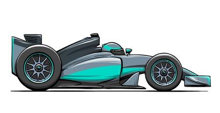 bolide: childs funny cartoon formula race car illustration