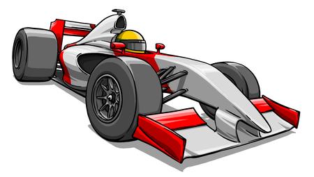 child's funny cartoon formula race car illustration