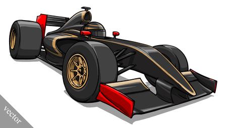 child's funny cartoon formula race car illustration Vektorové ilustrace