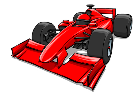 child's funny fast cartoon formula race car illustration