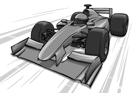 bolide: childs funny fast cartoon formula race car illustration