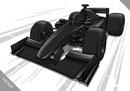 bolide: childs funny fast cartoon formula race car vector illustration