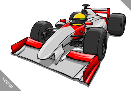 child's funny fast cartoon formula race car vector illustration